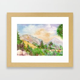 Landscape with mountains and blue sky painted by watercolor Framed Art Print