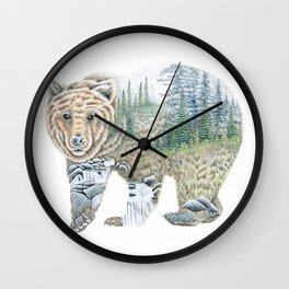 Spirit of the Grizzly Wall Clock