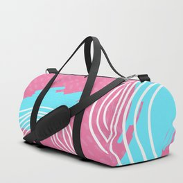 Pink and Blue Abstract Lines Background Duffle Bag