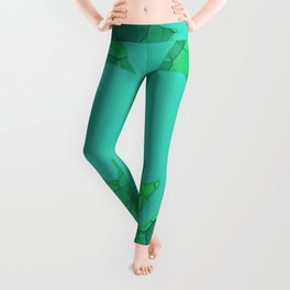 Stained Glass Tiffany style Sycamore leaves on green Leggings