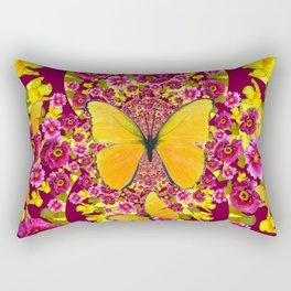 GARDEN FLOWERS & YELLOW BUTTERFLIES Rectangular Pillow