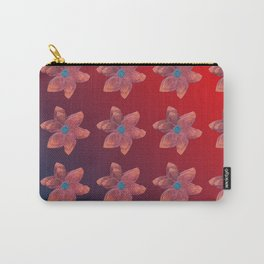 Vibrant Red Flower Repeat Carry-All Pouch