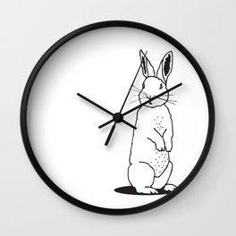 Simplistic linear drawing, white rabbit, woodland animal Wall Clock