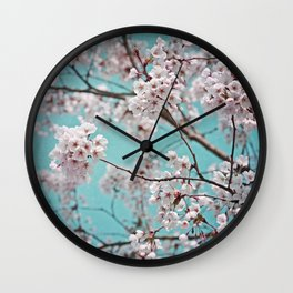 blossoms all over ~ color option teal Wall Clock
