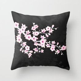 Pink Black Cherry Blossom Throw Pillow