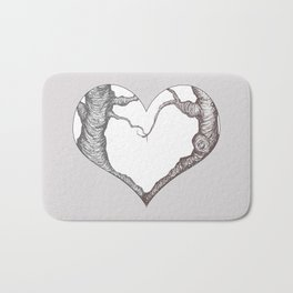 Two Trees in Love Sweetheart Valentine Illustration Bath Mat