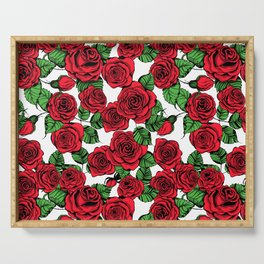 Red roses pattern Serving Tray