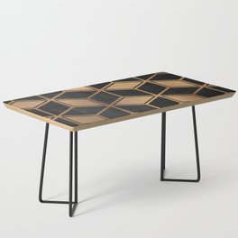 Charcoal and Gold - Geometric Textured Cube Design II Coffee Table