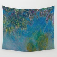 monet Wall Tapestries featuring Claude Monet Wisteria by Elegant Chaos Gallery