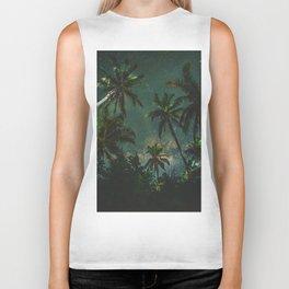 Tropical Palm Trees Night Star Sky Milky Way Carribean Night Sky Biker Tank