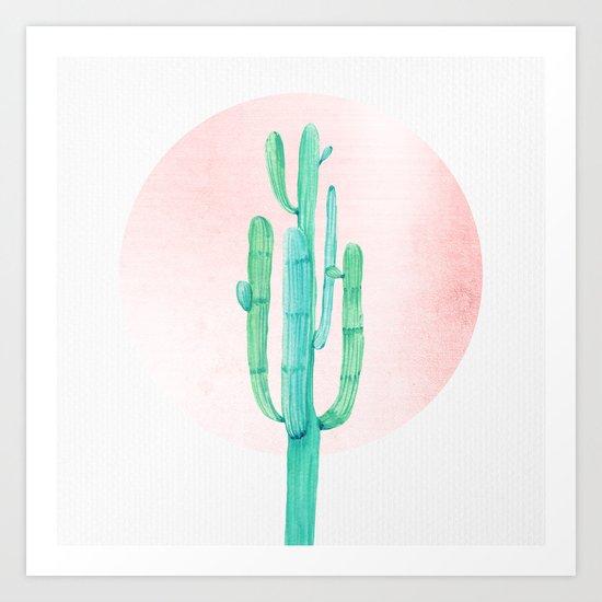 Desert Cactus Green with Rose Gold Sun Art Print