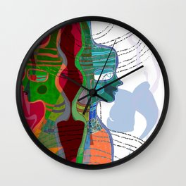 Girl Silhouette With Shapes V Wall Clock