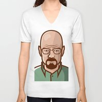 walter white V-neck T-shirts featuring Walter White by Sherif Adel