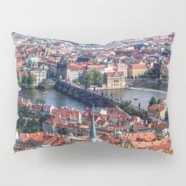 Prague Cityscape | Red Rooftop Landscape Photograph of the Old Romantic City Bridge Pillow Sham