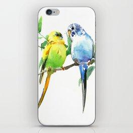 Budgies, Animal art, love, two birds bird artwork, bird pet iPhone Skin