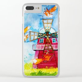 Dutch Windmills Clear iPhone Case