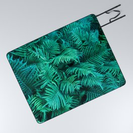 Fern Photography | Emerald | Turquoise |Tropical Leaves | Art Print Picnic Blanket