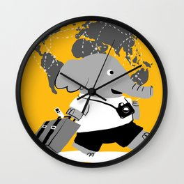 off to see the world Wall Clock
