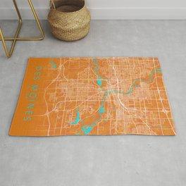 Des Moines, IA, USA, Gold, Blue, City, Map Rug