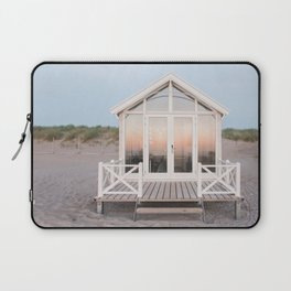 Beach house with reflecting sunset   The Hague, Netherlands   Pastel colors wall art print photography Laptop Sleeve