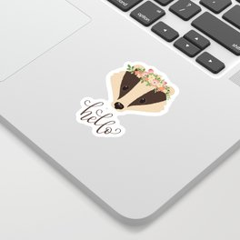 """Cute Badger Character. Badger in a Flower Crown. Hand Lettering """"hello"""". Modern Callgraphy Greetings Sticker"""