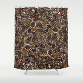 Funghi & Fern Forest, Fall Colors , Foraging for Woodland Mushrooms Brown, Orange Purple Shower Curtain