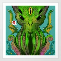 cthulu Art Prints featuring Cthulhu by Tyler Lederer