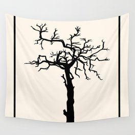 single black silhouette of the old tree without leaves Wall Tapestry
