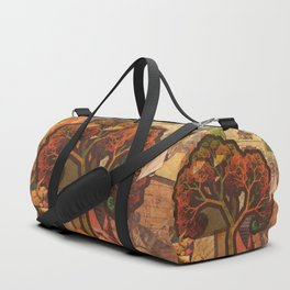 Beautiful Fractal Collage of an Endless Origami Autumn Duffle Bag