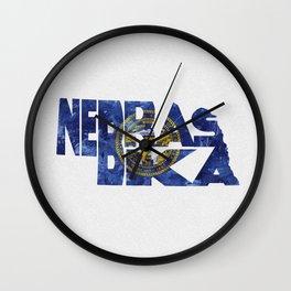 Nebraska Typographic Flag Map Art Wall Clock