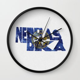 Nebraska Typographic Flag Map Art Wall Clock