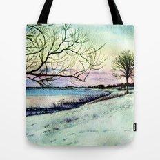 Winter evening in Racine Tote Bag
