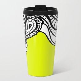 Green B&W Doodle  Metal Travel Mug