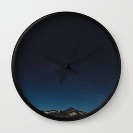 Mountain Against Beautiful Ombre Blue Sky & Star Sky Wall Clock