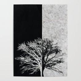 Natural Outlines - Oak Tree Black & Concrete #402 Poster