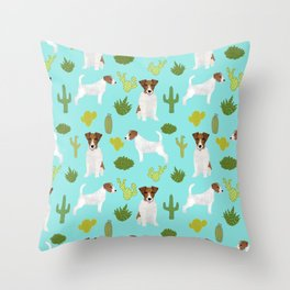 Jack Russell Terrier cactus desert custom pet portrait dog art by pet friendly Throw Pillow