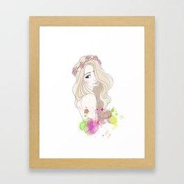 Blonde Flower Crown Girl Framed Art Print