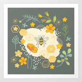 Little Bee and Buttercups Art Print