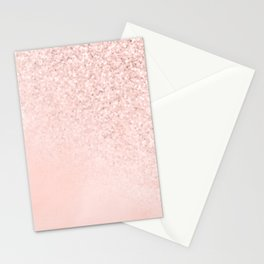 She Sparkles Rose Gold Pastel Light Pink Luxe Stationery Cards