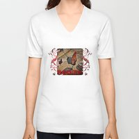 rooster V-neck T-shirts featuring Rooster by Justin Alan Casey