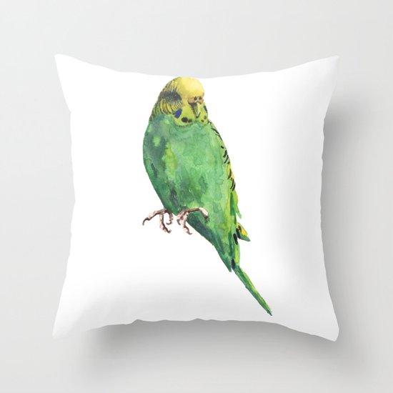 Budgie, parakeet, budgerigar,bird art, budgie painting Throw Pillow