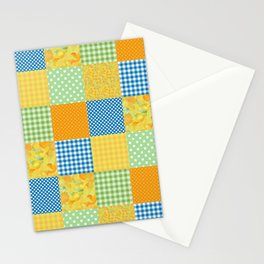 Golden Daffodils Faux Patchwork Stationery Cards