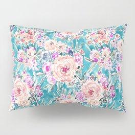 WAHINE WAYS Aqua Tropical Floral Pillow Sham