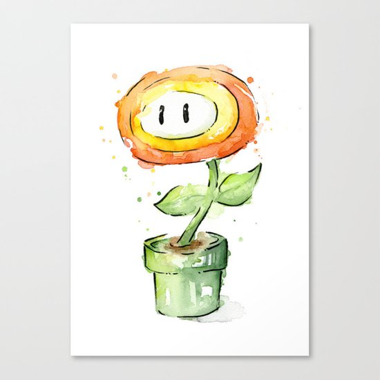Fireflower Mario Watercolor Canvas Print
