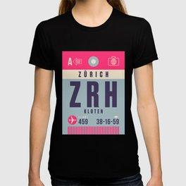 Retro Airline Luggage Tag - ZRH Zurich Switzerland T-shirt
