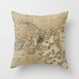 Vintage Boston Revolutionary War Map (1775) Throw Pillow