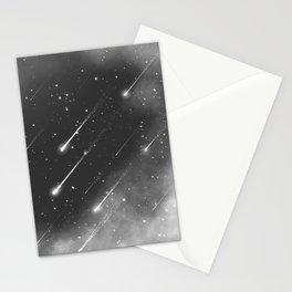 Monochrome space. Starfall. Night starry sky. Stationery Cards
