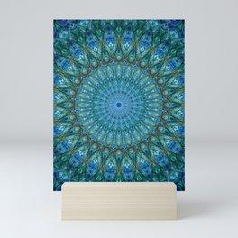 Pretty detailed sea blue and green mandala Mini Art Print