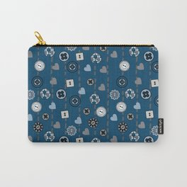 Buttons Hearts and Sewing Stitches on Blue Carry-All Pouch