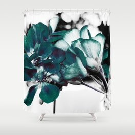 Dark Teal Flowers Shower Curtain
